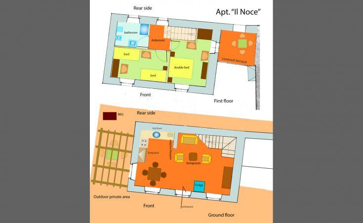 Planimetria Apt 1 Il Noce, Agriturismo Casa Greppo Umbria