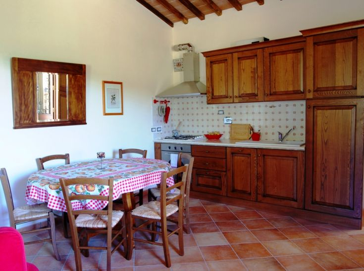 This is the kitchen-dining area of the apartment Il Frantoio, in the Farmhouse Fontanelle, on the 1st floor.