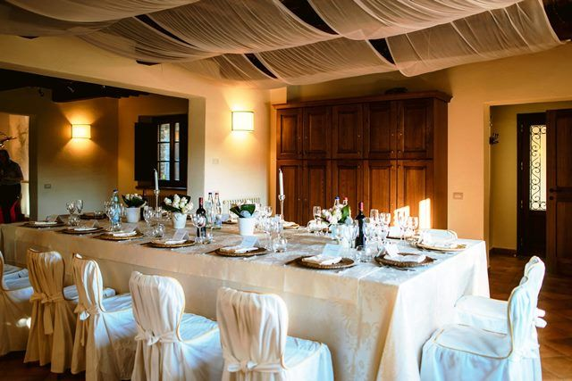 A small wedding dinner in the  Common Room of the Farmhouse Fontanelle.