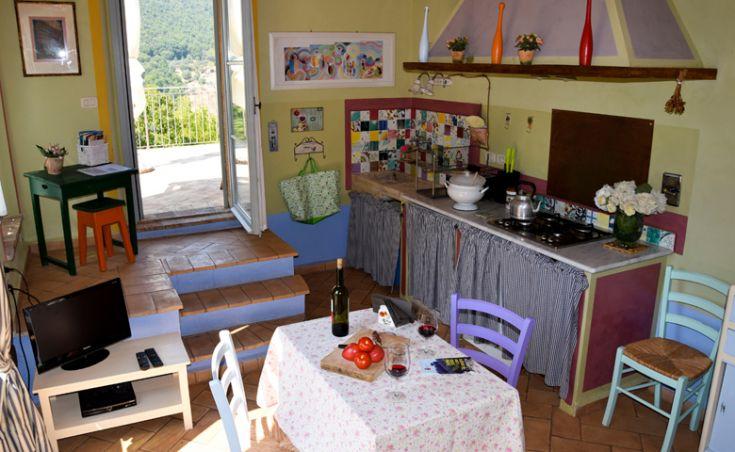 Appartamento Il Noce, sala con angolo cottura