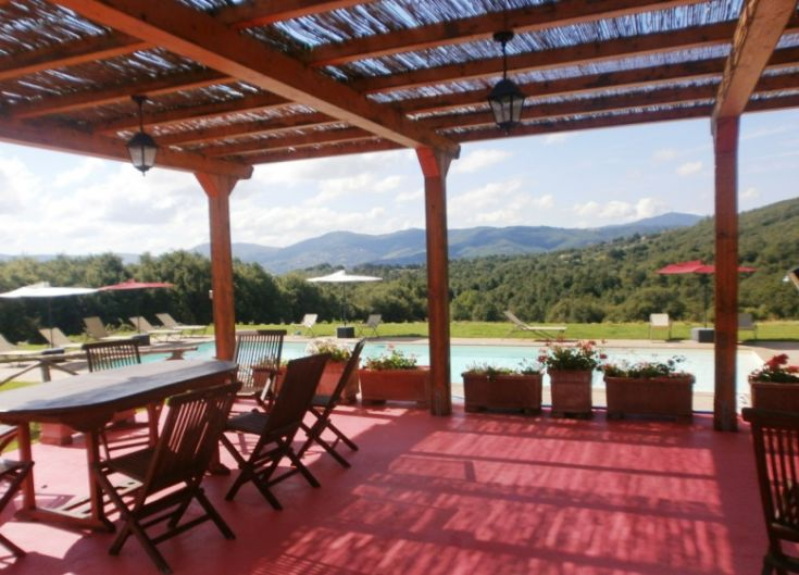 Il gazebo, con tavoli e barbecue, si affaccia sulla piscina.